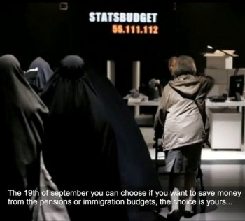Sweden - A scene from an add by the Sweden Democratic Party that was banned as racist. Despite this they still managed to win enough seats to hold the balance of power.
