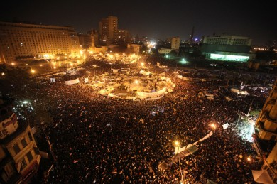 "Anti-government protesters celebrate in Tahrir Square in downtown Cairo, Egypt. Egypt's military announced on national television it had stepped in to secure the country and promised protesters calling for President Hosni Mubarak's ouster that all their demands would soon be met. Tens of thousands of protesters packed in central Tahrir broke into chants of ""We're almost there, we're almost there"" and waved V-for-victory"