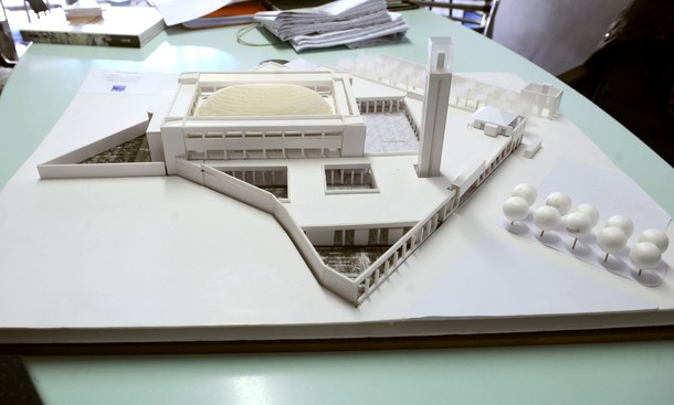 This photo shows the architectural model for the Grande Mosque of Marseille, designed by architect Maxime Repaux on April 30, 2009 in Marseille. Those in charge of the Association for the Grand Mosque of Marseille announced yeterday that the construction of the Mosque would start in December 2009 and indicated that they hoped to raise '3 to 4 million euros' (4 to 5.3 million US dollars) to finance the opening of the site, out of the global budget of 22 million euros (29 million US dollars).  AFP PHOTO/MICHEL GANGNE (Photo credit should read MICHEL GANGNE/AFP/Getty Images)
