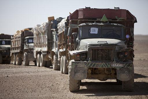 Supply trucks in Afghanistan