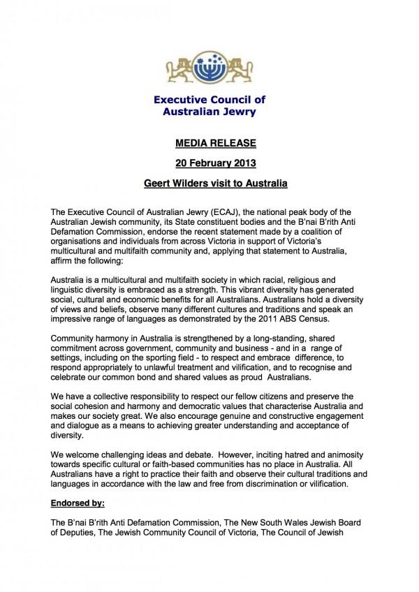 ECAJ - Media Release - Geert Wilders 20 2 2013
