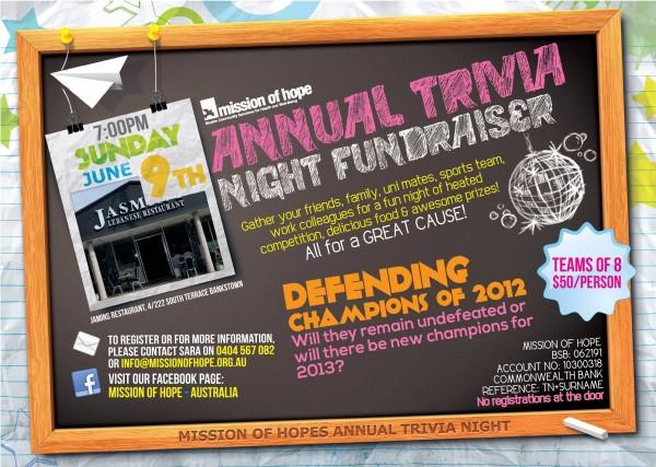Annual trivia night fundraiser
