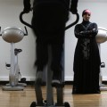 Orty Gym owner Lynda Ellabou poses in her new all-women's gym on the outskirts of Paris, in Le Raincy, October 4, 2013. (REUTERS/Christian Hartmann)