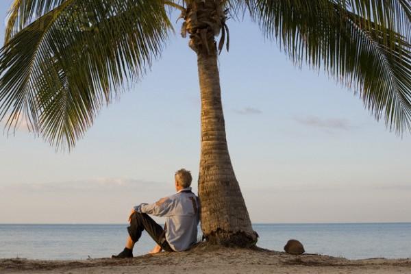 Businessman on Deserted Island