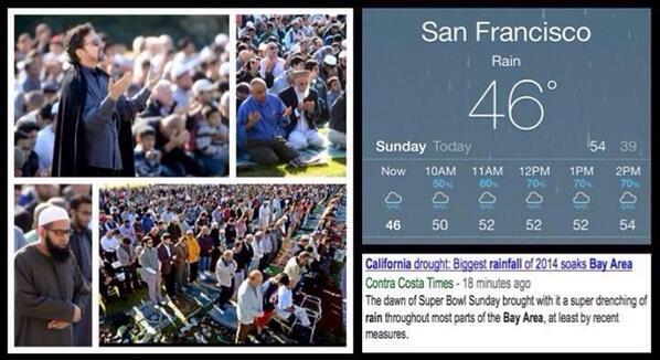 Calif. Muslims rejoice rain after prayers