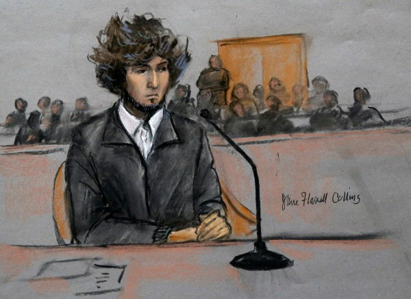 "Sketch from ""Boston Marathon Bomber"", Dzhokhar Tsarnaev hearing."