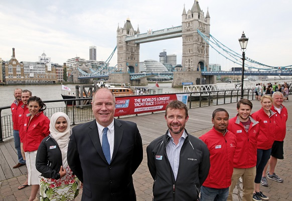 Clipper Race Director, Justin Taylor  and St Katharine Docks Marina Director, William Bowman with crew members Stephen O'Connor, Gavin Reid, Caroline Bowen, Brian Harlock, Matthew Ogg, Noreen Rahman, Dhruv Boruah and Vanessa Jubenot during the 60 Days to the Clipper Race Start announcement at the Guoman Tower Hotel, London. PRESS ASSOCIATION Photo. Picture date: Wednesday July 1, 2015. Photo credit should read: Scott Heavey/PA Wire