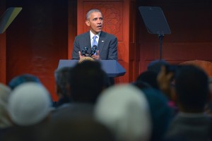 US President Barack Obama speaks at the Islamic Society of Baltimore, in Windsor Mill, Maryland on February 3, 2016. / AFP / MANDEL NGAN        (Photo credit should read MANDEL NGAN/AFP/Getty Images)